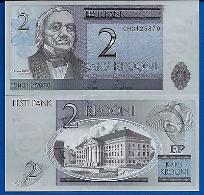 Estonia P-85 Two Krooni Year 2007 Uncirculated Banknote FREE SHIPPING