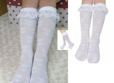 Kids Baby Girls High Knee Lace Socks Cotton School Socks Tights 3-8Y White NE