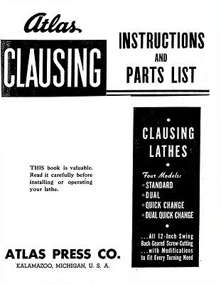 "Atlas Clausing 100 Series 12"" Lathe Instructions and Repair Parts Manual"