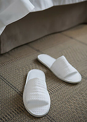 Bulk 10 X Waffle Weave White Guest/ Hotel/ Spa Slippers, 5 Star Hotel Quality