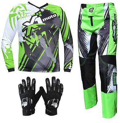GREEN YOUTH KIDS MX JERSEY PANTS GLOVES Dirt Bike Gear Off road Motocross Junior