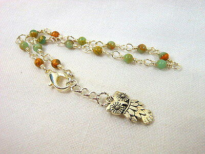 African Opal Silver Wire Wrapped Anklet ~ Any Size