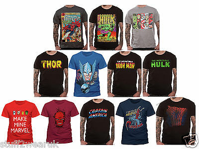 OFFICIAL Marvel Character Superhero T Shirts Avengers Spider Man Hulk Thor Iron
