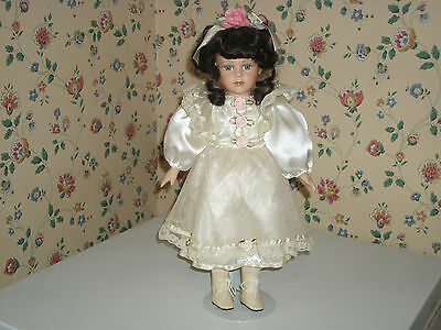 """Porcelain 16"""" Doll w/stand White Gown"""