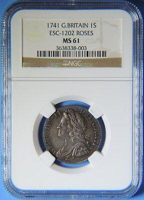 1741 Great Britain England Silver 1S Shilling - Roses - Coin George II NGC MS 61