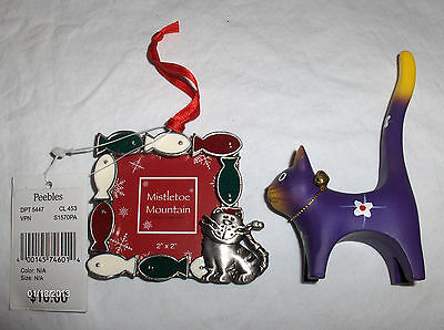 CAT PICTURE FRAME ENAMELED PEWTER & ODD CAT FIGURE