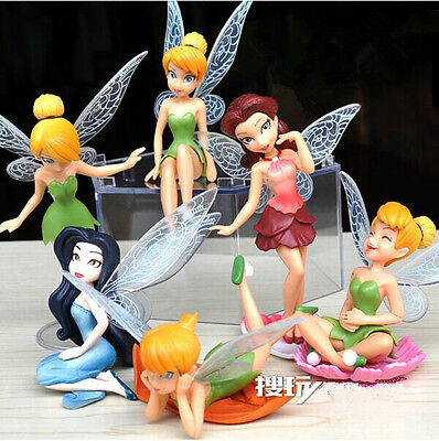 6Pcs Tinkerbell Fairies Figures Tinker Bell Fairy Playset Cake Toppers Dolls Toy