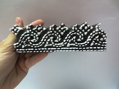 WOODEN HAND CARVED TEXTILE PRINT FABRIC BLOCK STAMP ETHNIC DOTTED DESIGN BORDER