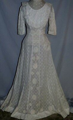Edwardian Textured Cotton Lawn / Tea Dress w Pink Embroidery / Lace / Train SM