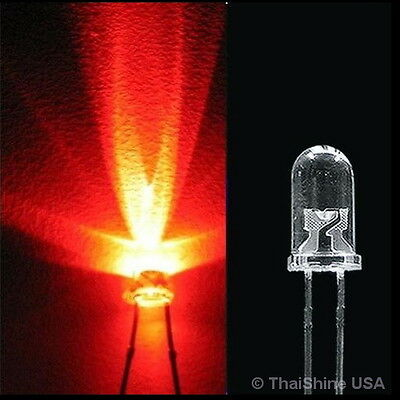 50 x LED 3mm Red Water Clear Ultra Bright - USA Seller - Free Shipping