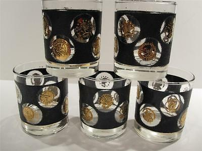 5 Vintage Libbey Black Gold Coin Glasses -Faux Leather Look Bar On The Rocks