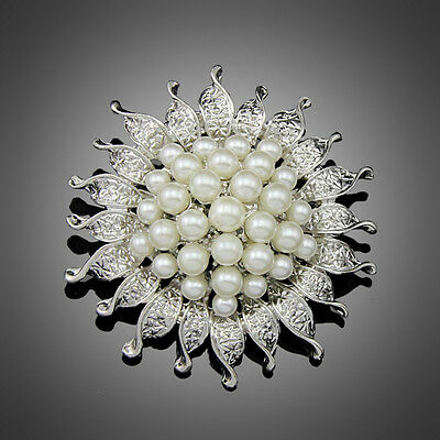 Hot sell Fashion Faux pearl Sunflower Wedding Bridal Bouquet Brooch Pin Free
