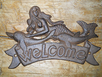 Cast Iron MERMAID WELCOME Plaque DOLPHIN Sign Nautical Wall Decor