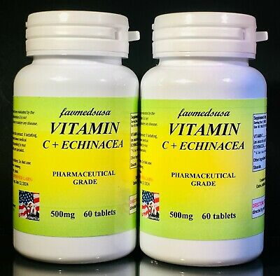 Vitamin C 500mg + Echinacea, cold, immunity - 120 (2x60) tablets. Made in USA.