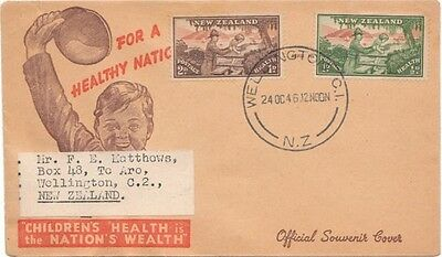 First day cover for Children's Health, Wellington New Zealand, Oct.1946