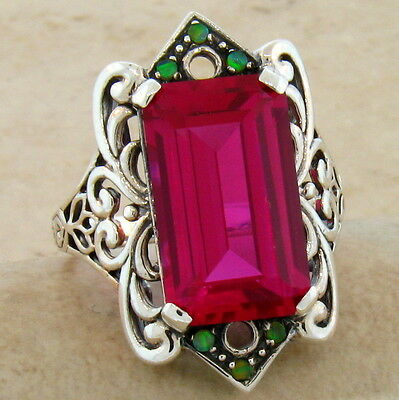 9 Ct Red Lab Ruby & Opal Antique Victorian Design .925 Sterling Silver Ring,#493
