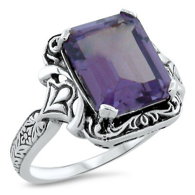 Color Changing Lab Alexandrite Antique Design .925 Sterling Silver Ring,    #498