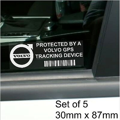 5 x Volvo GPS Tracking Device Security Stickers--Car Alarm Tracker