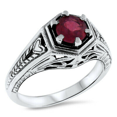 Genuine Red Ruby Antique Art Deco Design .925 Sterling Silver Ring,         #509