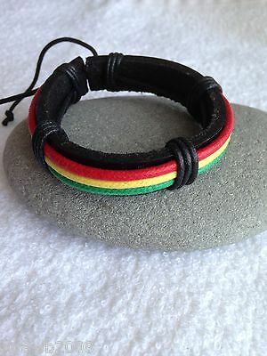 Rasta Leather & Cord Red Gold Green Wristband/Bracelet Adjustable