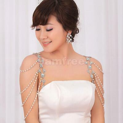 Pair Wedding Bridal Crystal Diamante Pearl Shoulder Body Chain Necklace Jewelry