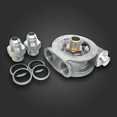 """MOCAL Oil Cooler Sandwich Plate 80° Thermostatic 3/4"""" UNF & -10 AN JIC ADAPTERS"""