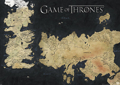 (LAMINATED) MAP OF WESTEROS GIANT POSTER (100x140cm) GAME OF THRONES HBO TV ART