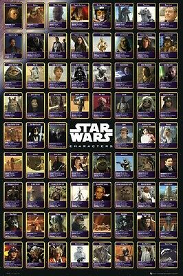 STAR WARS MOVIE (LAMINATED) POSTER (61x91cm) Character Chart Vader Skywalker NEW
