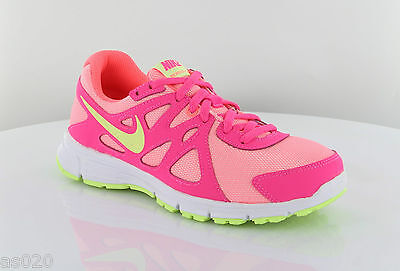 Nike Revolution 2 GS Junior Kids Girls Running Trainers Shoes - Hot Pink & Lime