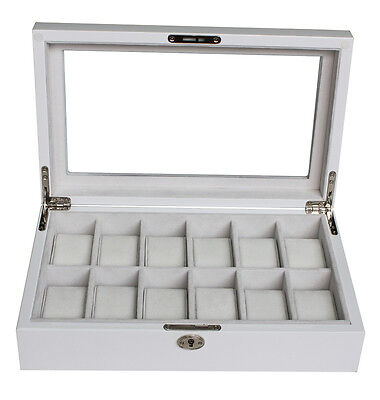 12 White Lacquer Watch Display Case Box Glass Top Piano Gloss Collector Storage