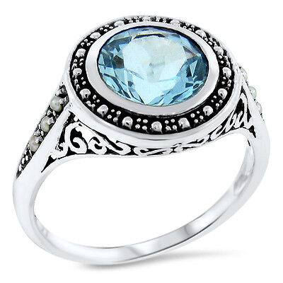 Genuine Sky Blue Topaz & Pearl Antique Design .925 Sterling Silver Ring,    #511