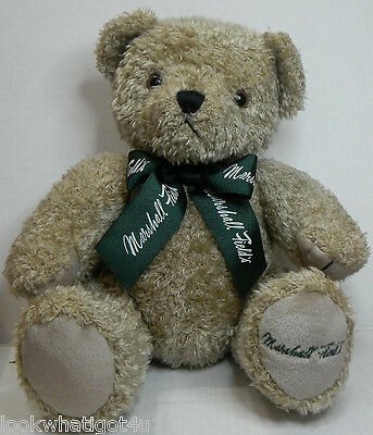 """Marshall Field's department store Jointed Teddy bear 16"""" brown w/ Classic green"""