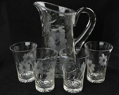 Cut Glass Pitcher and 4 Glasses