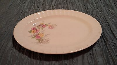 vtg Edwin M Knowles China Floral Rose Serving Platter Semi Vitreous by Knowles