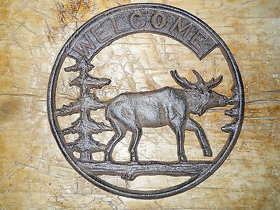 Cast Iron Round MOOSE WELCOME Plaque Sign Rustic Ranch Hunting Camp Decor