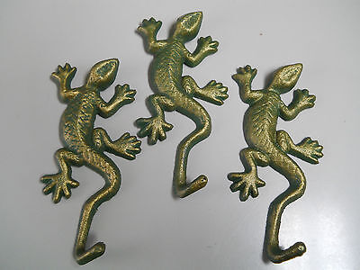 3 Cast Iron LIZARD Towel Hanger Coat  Hat Hooks, Key Rack  REPTILE Hook GECKO