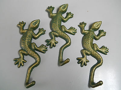 3 Cast Iron LIZARDTowel Hanger Coat  Hat Hooks, Key Rack  REPTILE Hook GECKO
