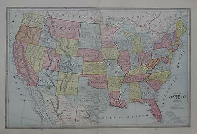 1883 United States Large 2-page Color Atlas Map** USA  w/ Towns, Railroads,  etc
