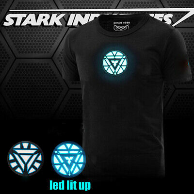 The Avengers 2 Tony Stark LED Iron Man T-Shirt Arc Reactor Sound Activated USA