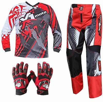 RED ADULT MX JERSEY PANTS GLOVES Dirt Bike Gear Off road Motocross BMX MOTOX