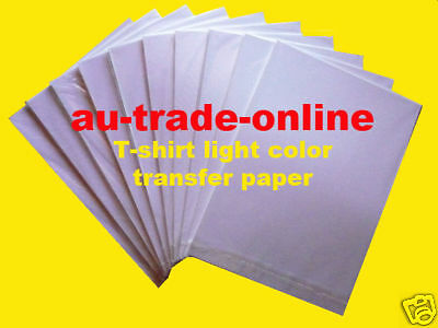 10 sheets TRANSFER PAPER A4 T-SHIRT Inkjet print for light COLOURs t-shirt IRON