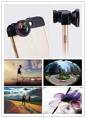 Clip-on 3in1 black Fish Eye,Macro Camera,Wide Angle Lens Kit For iPhone 6 6s