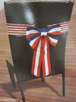 Americana  Patriotic 4th of July Patio Dinning Chair Bow Decorations Decor