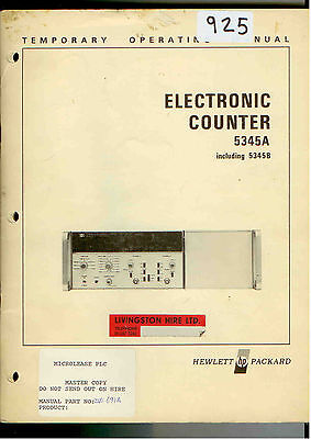 HP/Agilent 5345A Electronic Counter Operating Manual Loc: 925