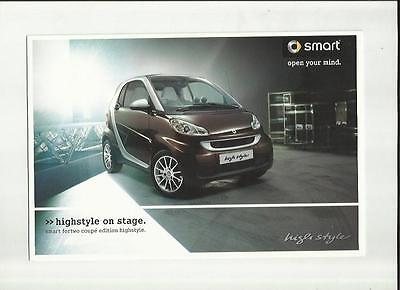 Smart Fortwo Coupe Edition Highstyle Sales Brochure August 2008 For 2009