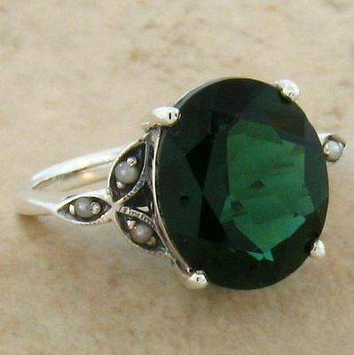 5 Ct. Sim. Emerald Pearl Antique Victorian Design .925 Sterling Silver Ring,#535