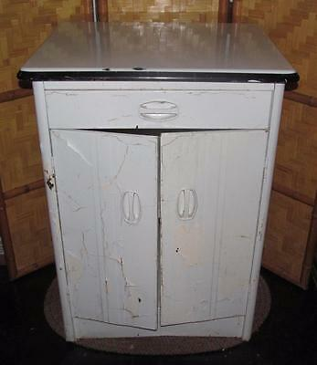 ~ Vintage-1950s-Art-Deco-Metal Cabinet W/Two Doors And Drawer~