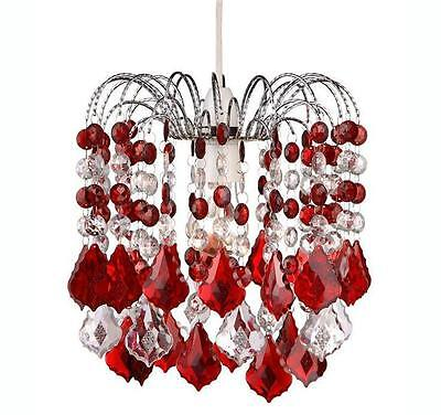 Red & Clear Hanging Acrylic Beaded Ceiling Lampshade  28cm