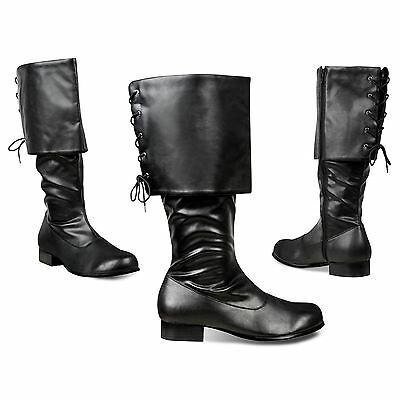 Mens Black Musketeer Robin Medieval Pirate Blackbeard Sparrow Fancy Dress Boots