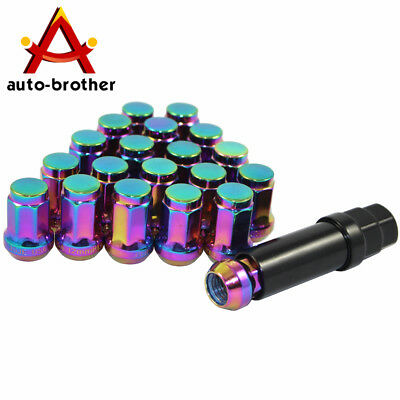Neo Chrome 20 Spline Tuner Racing Lug Nuts 12mm x 1.5 + Key Lock for Honda Acura